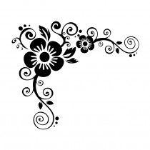 bloemen met swirls muursticker raamsticker bloemen