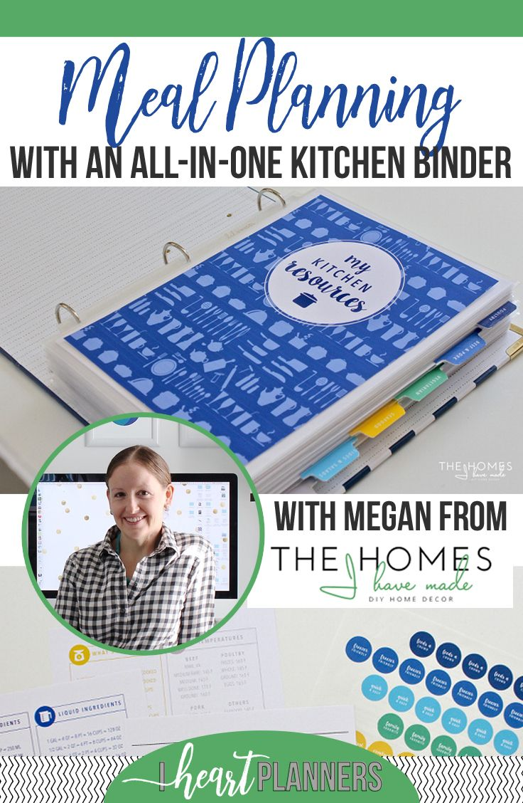 Megan from The Homes I Have Made (one of my favorite blogs on the internet) has agreed to share her meal planning advice with you, and how she uses her kitchen binder. - iheartplanners.com