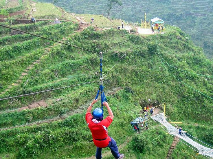 Umbul Sidomukti, Bandungan, Semarang, Indonesia. A thrilling flying fox with height 70m. Cheap and great outbond experience!