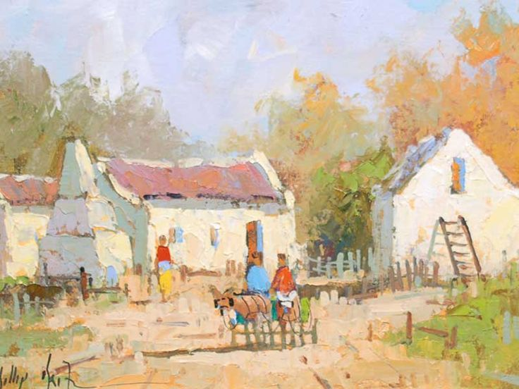 Phillip Britz (SA born 1966) Oil, Cottages and Donkey Cart