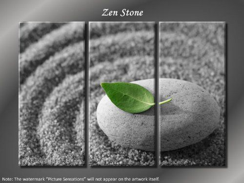 """Framed Huge 3 Panel Modern Feng Shui Art Zen Stone Giclee Canvas Print, By PictureSensations.com // $99.00  Features: - Giclee artwork, print on the premium artist cotton canvas - Stretched on a 3/4"""" wooden frame. The image continues around the sides, staple free. Ready to hang! - Each panel: 14"""" (wide) x 30"""" (high) x 3/4"""" (deep) - Total Size: 42"""" (wide) x 30"""" (high) x 3/4"""" (deep) - 100% Money Back Guarantee-  >>Get Inspired! - Visit http://artcaffeine.imobileappsys.com"""