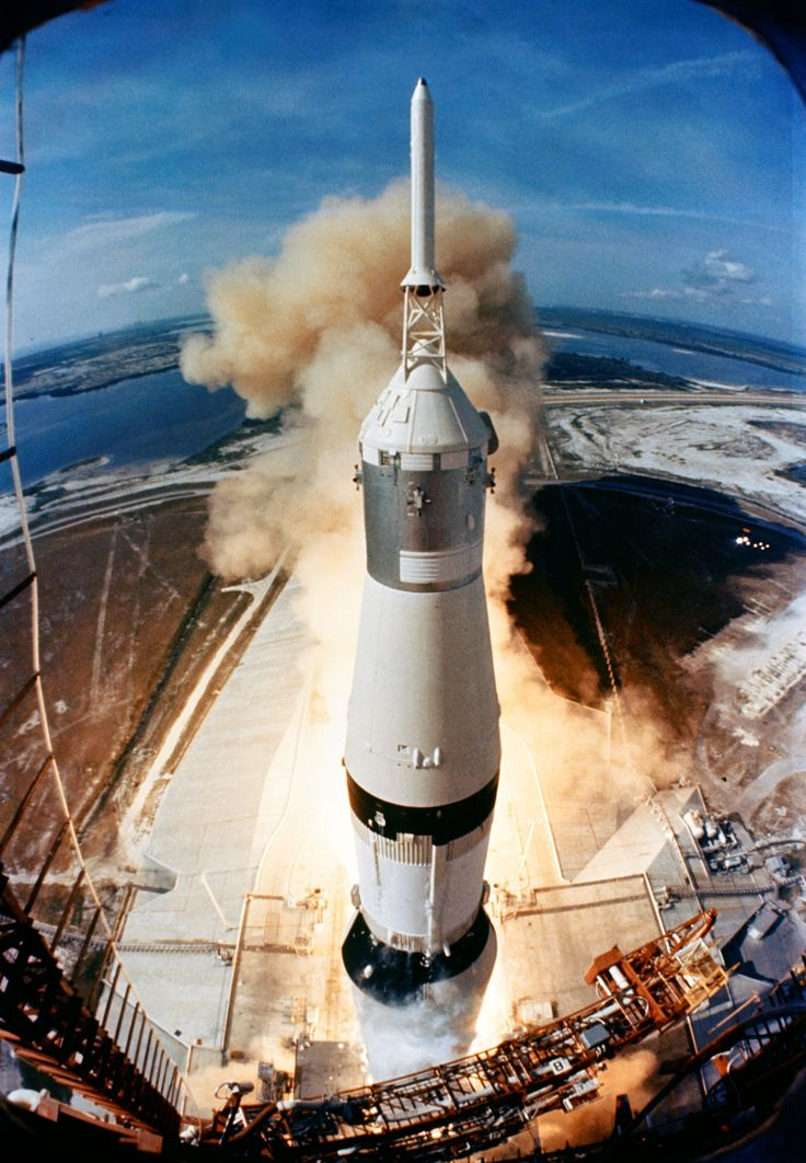 On July 16, 1969, the huge, 363-feet tall Saturn V rocket launches on the Apollo 11 mission from Pad A, Launch Complex 39.