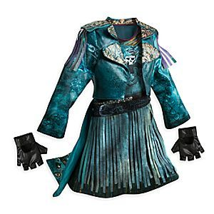 Filled with swashbuckling style, this detailed Uma costume will transform them into the daughter of the legendary sea witch Ursula from Disney's <i>Descendants 2</i>. The faux leather coat combines with the tasseled dress to complete the look.