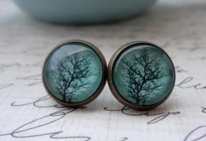 Ooohhhh :): Aqua Trees, Antique Brass, Trees Branches, Studs Earrings, Antiques Brass, Jewelry, Trees Posts, Posts Earrings, Magnets Compass