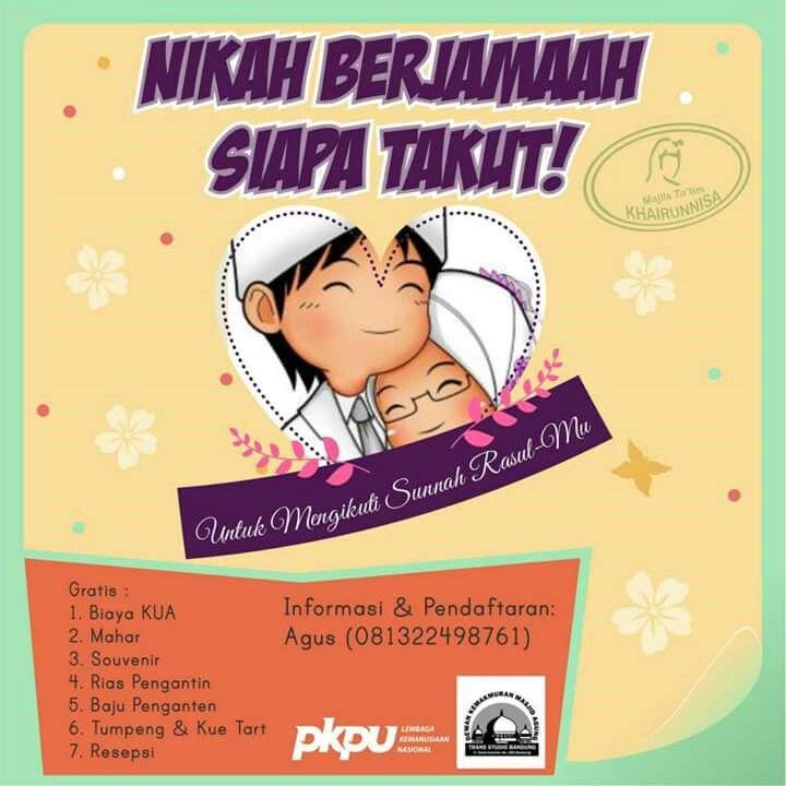 """[NIKAH MASSAL 2015]  Majlis Ta'lim Khairunnisa, Mesjid Agung Trans Studio dan PKPU Mempersembahkan...  """"Nikah Massal 2015"""" Rabu, 13 Mei 2015 Pukul 08.00 WIB - Selesai. Di Mesjid Agung TSB dan Area Trans Studio Bandung.  Info dan Pendaftaran: PKPU Bandung, Jl. Cikutra No.95 Bandung.  Pendaftaran: Khadirun PKPU: 081322498761  https://www.facebook.com/photo.php?fbid=1089033811111741&set=a.136430953038703.27905.100000153974306&type=1"""