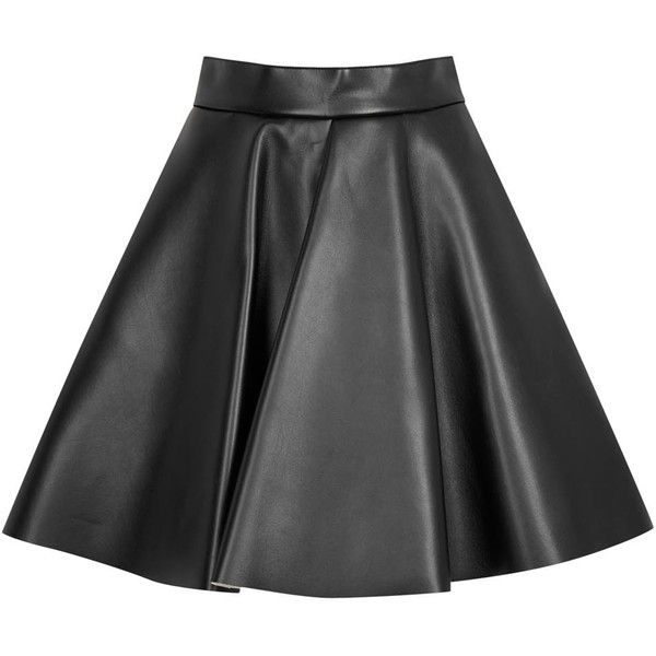 Womens Leather Skirts MSGM Black Leather Effect Wool Blend Skater... (485 CAD) ❤ liked on Polyvore