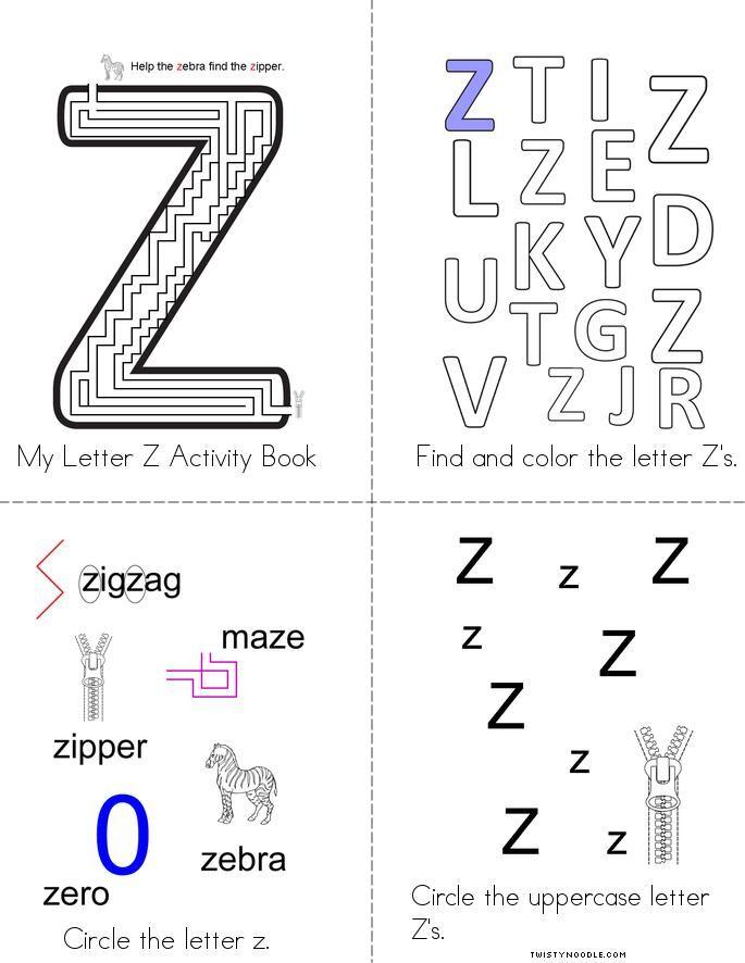 Letter Z Activity Book Twisty Noodle Letter Z Book Activities Z Book