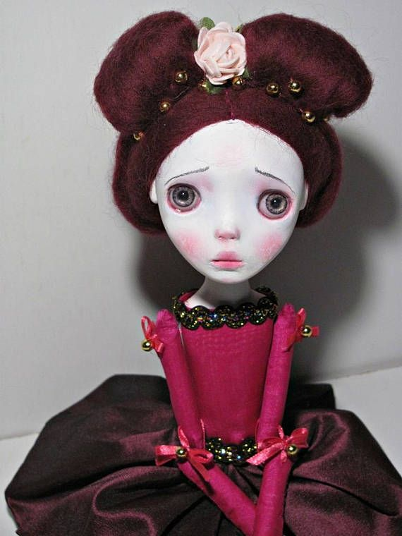 Handmade Collectible Unique OOAK Clay poseable Art doll