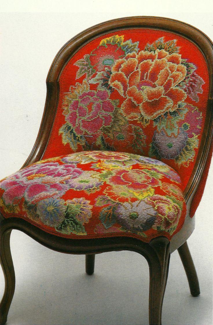 Red flower needlepoint chair by Kaffe Fassett