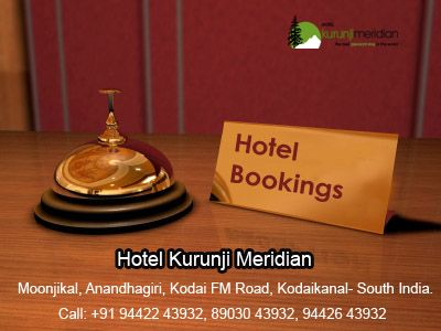 We are the best hotel in Kodaikanal, South India and offering cottages, Resort at lowest cost. Our speciality is 24/7 hospitality,security. Book your vacation with Hotelkurunjimeridian.  Moonjikal, Anandhagiri, Kodai FM Road, Kodaikanal- South India.  Call: +91 4542 244667- 244669 Email: kodaikurunji@gmail.com