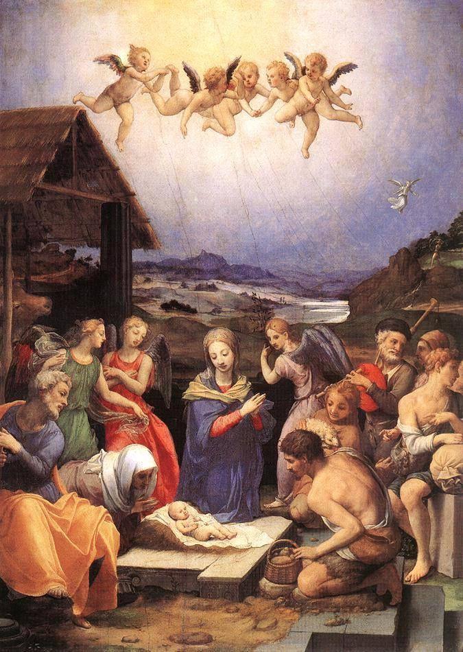 Tiszta öröm tüze átég a szemeken, a harangjáték szól, éjféli üzenet: Kis Jézuska született!   Dsida Jenő   Agnolo Bronzino (1503-1572): Adoration of the Shepherds (detail) (c.1535-40)