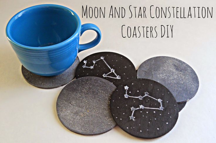 Running With A Glue Gun: Moon And Star Constellation Coasters DIY