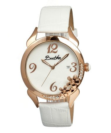 Another great find on #zulily! White Daisy Mother-of-Pearl Leather-Strap Watch #zulilyfinds