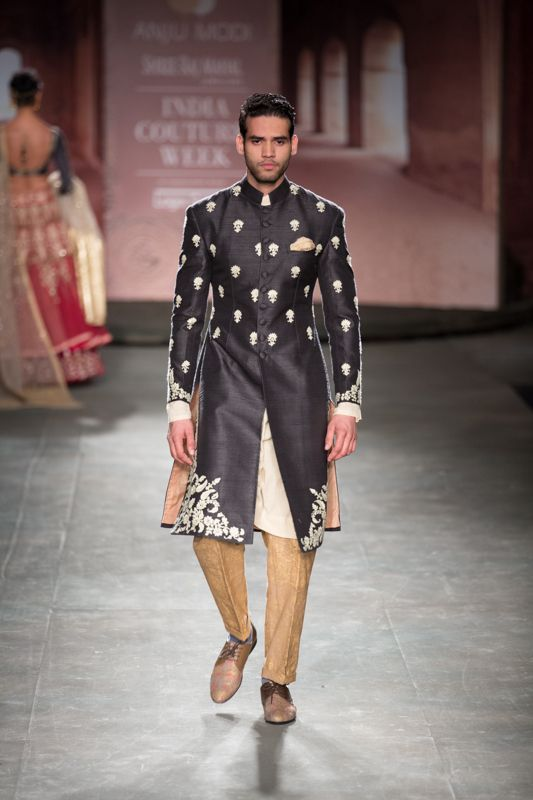 Anju Modi at India Couture Week 2014 - men's black kurta sherwani