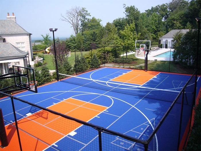outdoor basketball court tennis court backyard diy volleyball court