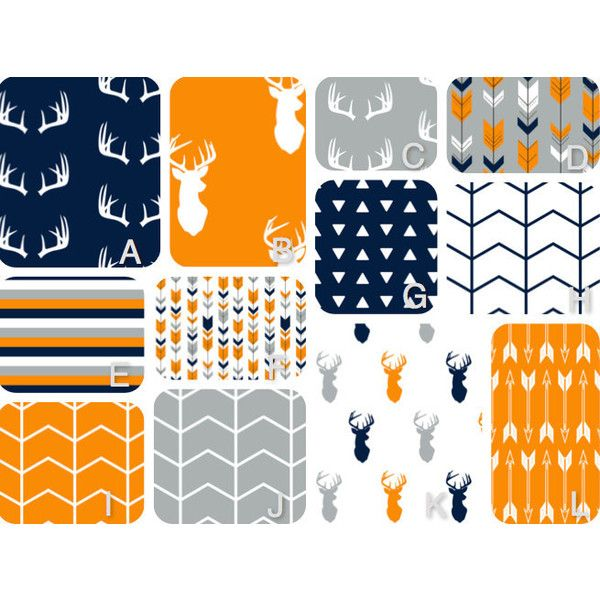 Deer Head and Arrow Crib Bedding in Navy Gray and Orange Boy Crib Set... ($140) ❤ liked on Polyvore featuring home, children's room, children's furniture, nursery furniture, bedding, grey and home & living