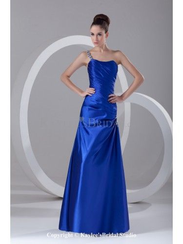Satin One-Shoulder Neckline Floor Length A-line Directionally Ruched Prom Dress