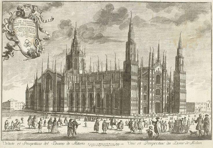 G. Francesco Paer | Dom van Milaan, G. Francesco Paer, Giovanni Reycends et filles, unknown, 1728 | Gezicht op de Dom van Milaan. Titel in het Italiaans en Frans in ondermarge.