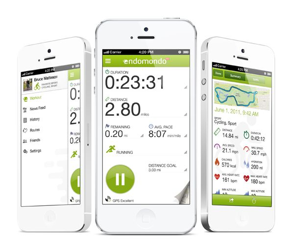 Endomondo app on iPhone
