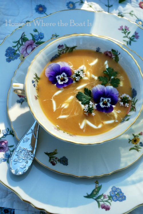 Chilled Carrot Soup~ garnished with violas, flowering thyme, parsley ...