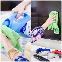 Producto para limpiar el polvo y que tarde en aparecer con una solucion de suavizante para la ropa y agua