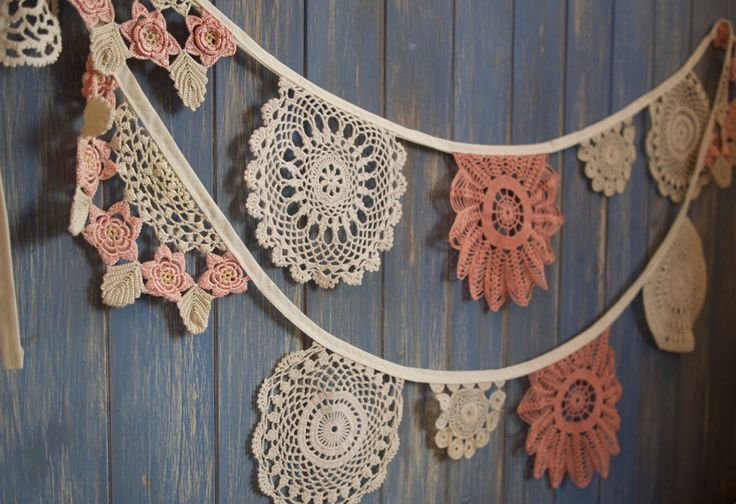 Vintage Doily Bunting. Wedding Bunting. A beautiful 3m strand made out of…                                                                                                                                                                                 More