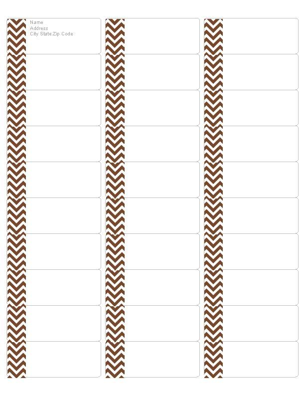 free chocolate chevron address labels  compatible with