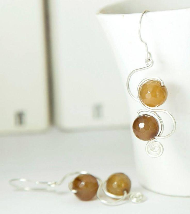 Amber Curve Earrings - Mythika Handmade Jewelry by Priya Jhavar