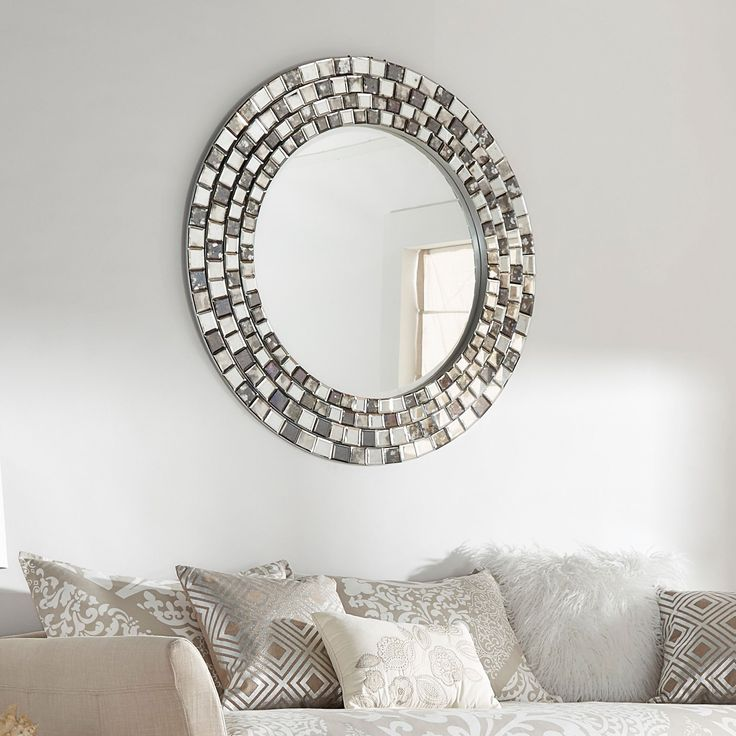 Palmer Frosted Tile Silver Finish Round Accent Wall Mirror by iNSPIRE Q Bold (Mosatic Round Accent Wall Mirror) (Wood)