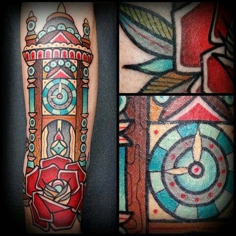 grandfather clock face tattoo. grandfather clock tattoo face