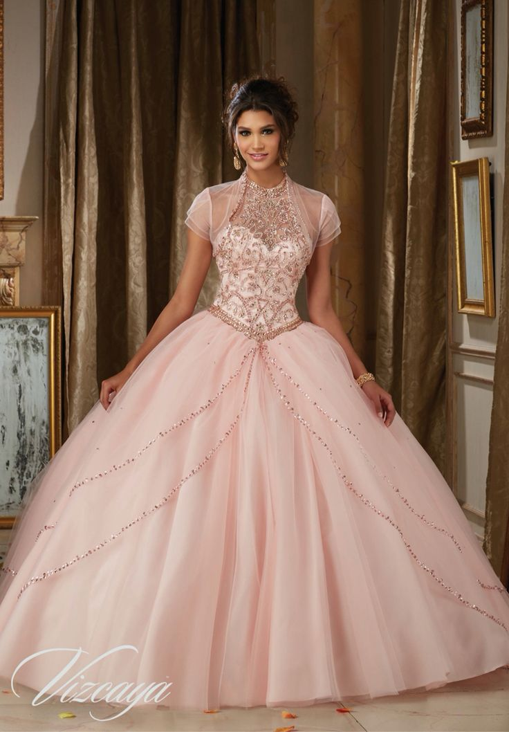Morilee Vizcaya Quinceanera Dress 89114 JEWELED BEADING ON PRINCESS TULLE BALL GOWN Matching Bolero Jacket. Available in Light Purple, Blush, Bahama Blue, White (Color of this dress): Blush