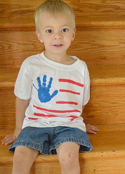 Kids Handprint Flag T-Shirt Craft