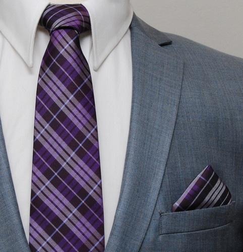 New Milani Collezioni Mens Purple Plaid Suit Neck TIE & Handkerchief