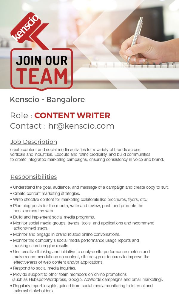 We're Hiring! Check out the Job description and responsibilities, and write to us if interested. #ContentWriter #Jobs #Hiring