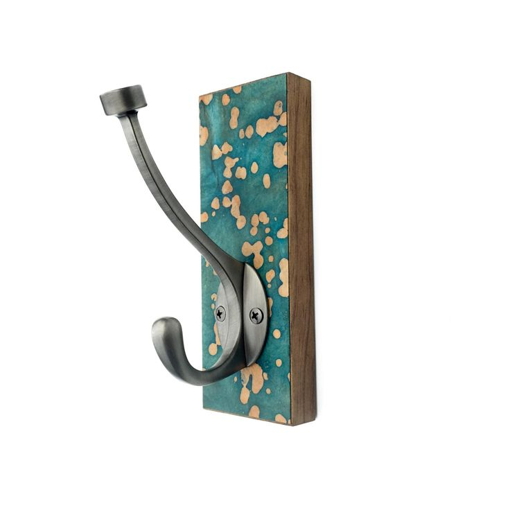 Teal Wall Hook, Paper Batik, Wall Decor, Abstract Green Coat Rack, Colorful Dots, Teal Coat Hook, Clothes Storage, Hanger, Tan Dots by calyrew on Etsy https://www.etsy.com/listing/234453436/teal-wall-hook-paper-batik-wall-decor