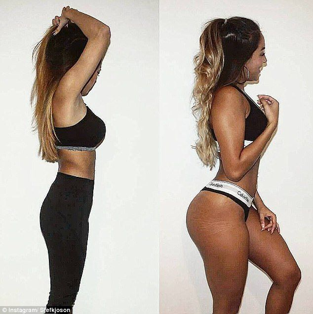 Before and after: Fitness star Stef Joson (pictured), based in Switzerland, is showing off her very impressing transformation from skinny to curvy after recovering from an eating disorder