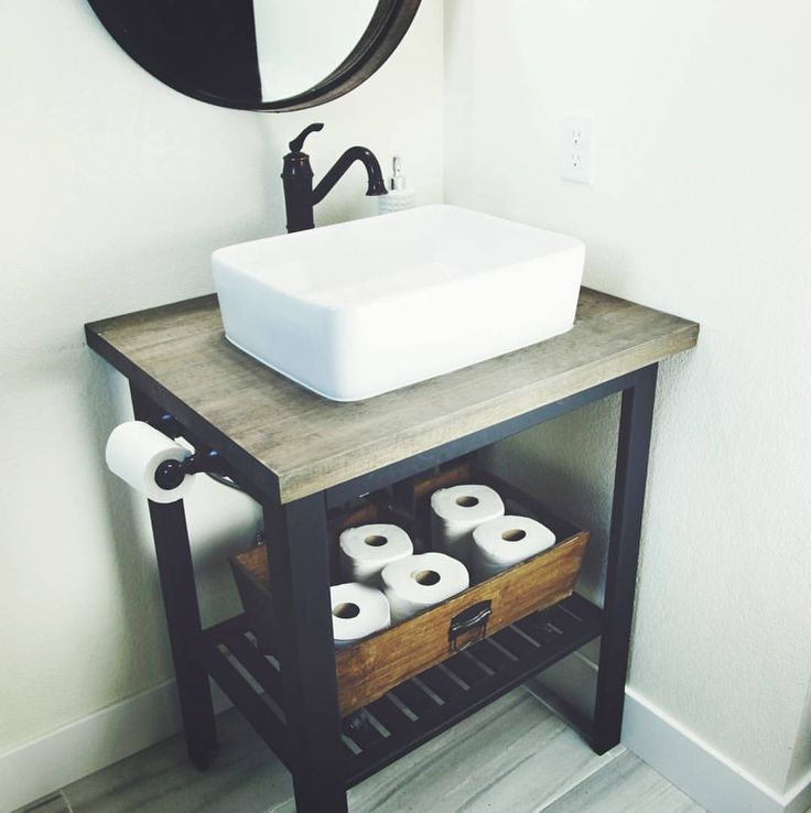 #naileditfridays... yep...such an easy DIY sink base you guys! Found the base at ikea and it was originally an outdoor prep stand. We painted it black, cut it down a little,  cut and stained a butcher block countertop to fit and installed the sink and faucet and... baboom! Very simple, affordable and oh so farmhouse style!! I will put up all the details on the blog soon and  step by step instructions as well... . . . . @backroadsignco @desertdecor @birdie_farm @shabbydesertnest…