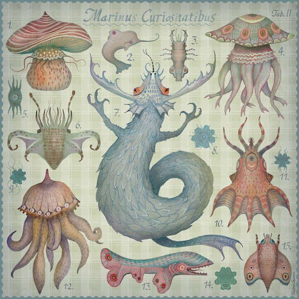 Fantastical Sea Creature Drawings - they look friendly here