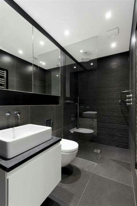 Sleek and neat bathroom design.
