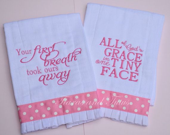 Pink Embroidered Burp Cloth Set of 2 Baby by elainestiarasntutus