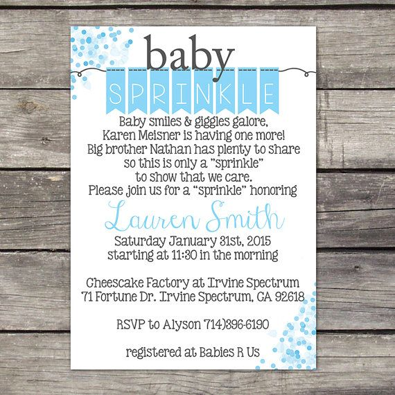 WE PRINT Baby Sprinkle Invitation for a Boy - Poem - Blue Polka Dot Baby Sprinkle Invitation  Baby-112