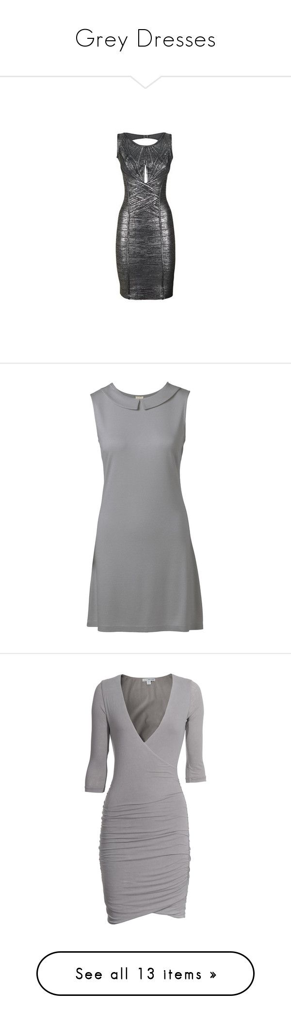 """Grey Dresses"" by ashleythesm ❤ liked on Polyvore featuring dresses, metallic dress, hervé léger, herve leger dress, metallic cocktail dress, vestidos, short dresses, robes, vestiti and short sleeve cocktail dresses"