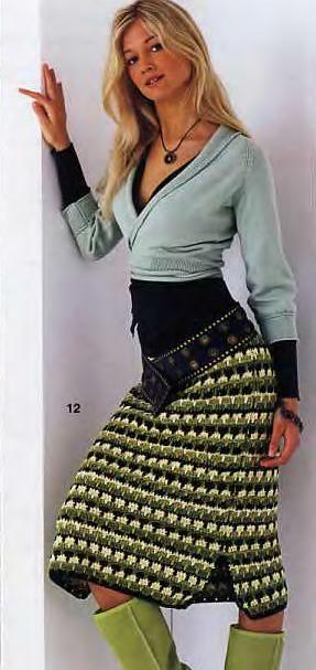 Warm crochet skirt, basic pattern included