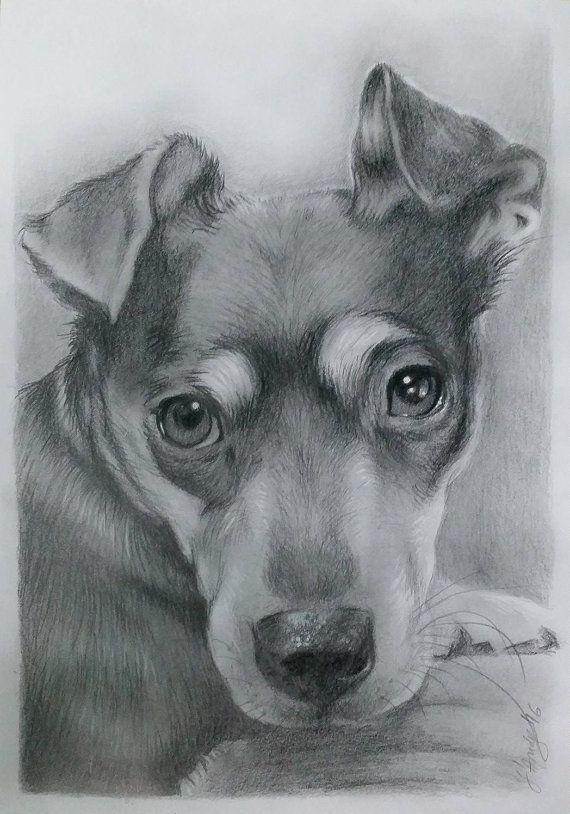 Puppy custom portrait Dog memorial Dog Sketch Artwork