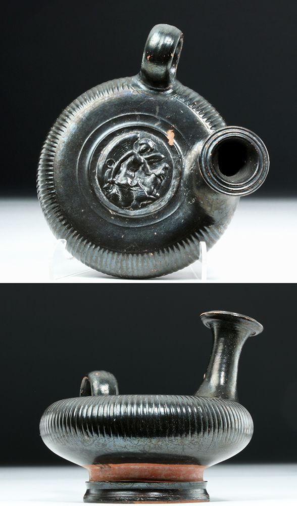 Greek Campanian Blackware Guttos - Nike & Bull, Magna Graecia, Southern Italy, Campania, ca. 325 BCE.