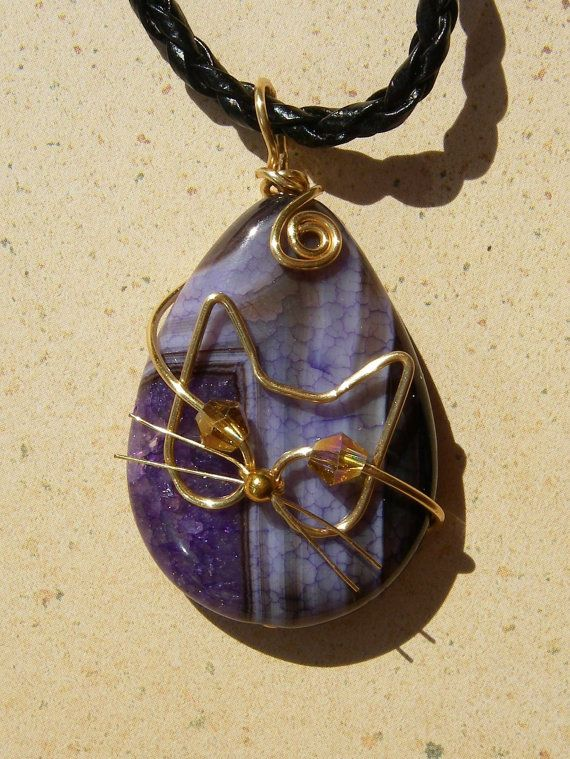 Unique Gold Wire Cat on Purple and Black Agate by jillmh123, $12.50