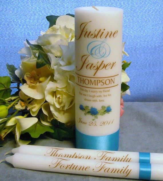 Unity Candle With Tapers Personalized Rose by PersonalizedCandles, $30.00