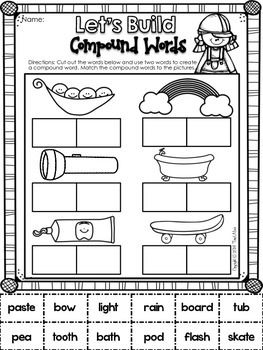 11 best images about compound words on pinterest free printable cut and paste and activities. Black Bedroom Furniture Sets. Home Design Ideas