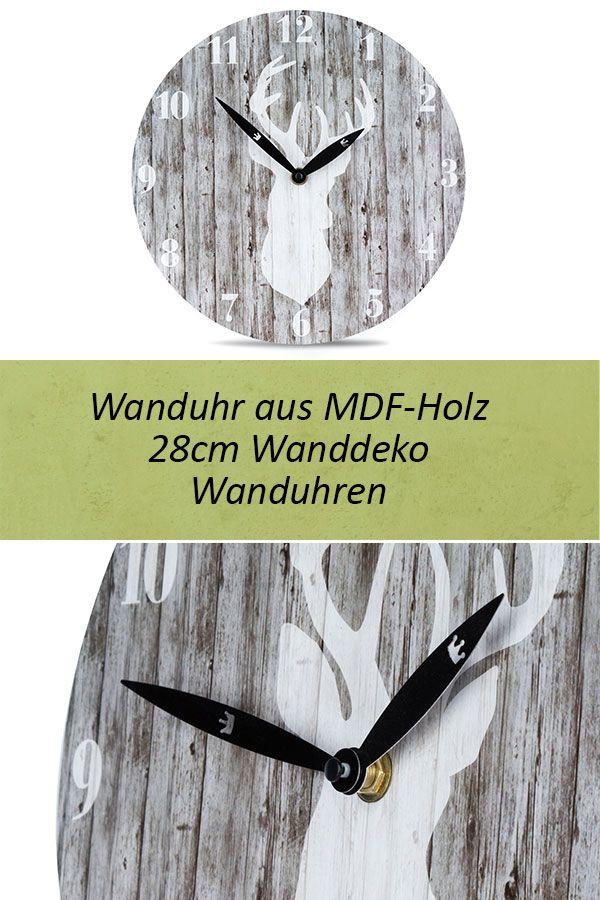LAUTLOSE Designer Wanduhr mit Spruch Chillout Zone Holz Holzoptik modern Deko sc