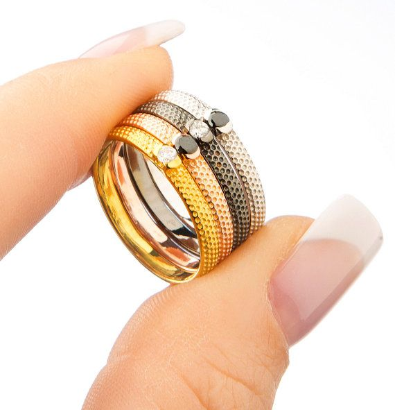 Silver stacking bandSterling silver ringGold by elegantjewelbox, $19.00